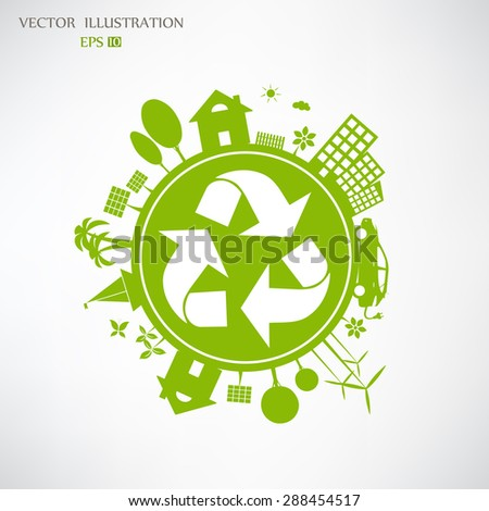 Environmentally friendly world. Vector illustration of ecology the concept of infographics modern design. Ecological concepts. Triangular recycling symbol.  - stock vector