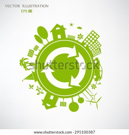 Environmentally friendly world. Vector illustration of ecology the concept of infographics modern design. Ecological concepts. Recycling symbol. - stock vector
