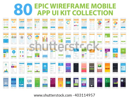 Epic Wireframe Mobile App UI Kit Collection, 80 screens. - stock vector