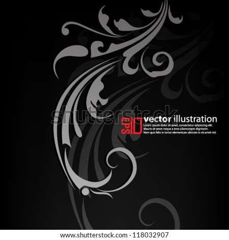 eps10 abstract vector design -  elegant floral swirl background - stock vector