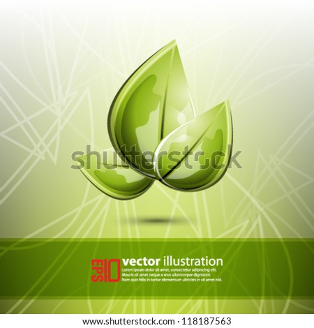 eps10 abstract vector design - leaf futuristic illustration on green background - stock vector