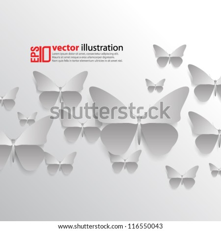 eps10 abstract vector design - monochromatic butterflies - stock vector