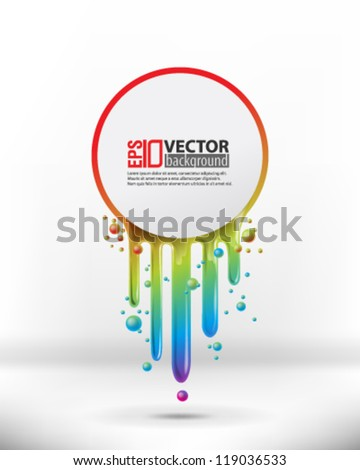 eps10 abstract vector design - multicolor paint with circle on isolated background - stock vector