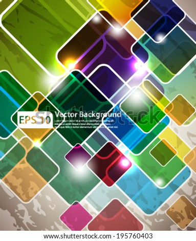 eps10 abstract vector design - multicolored geometric squares on gunge background - stock vector