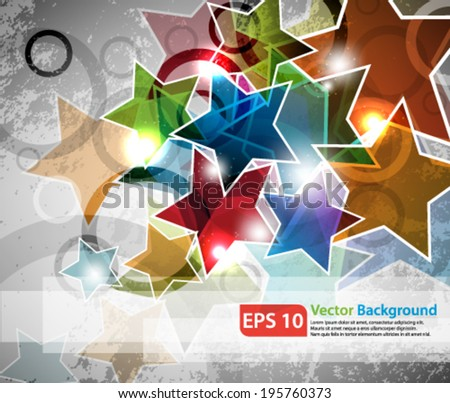 eps10 abstract vector design - multicolored stars on grunge backround - stock vector