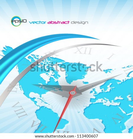 eps10 abstract vector design, world map with clock hands - stock vector