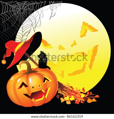 EPS10/ Attributes of Halloween on a black background with the moon - stock vector