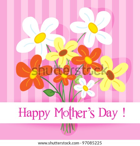 EPS 10: Celebration card: cute and fun hand drawn daisy flowers with shadow over a pink stripes background with Happy mother's day banner. - stock vector