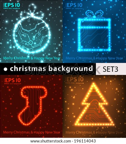 EPS10 Christmas tree, ball, gift and sock in circuit board style vector background - stock vector
