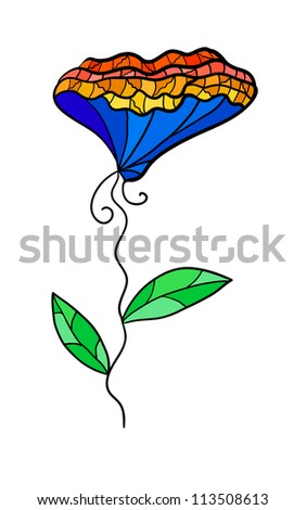 Eps 10 colorful decorative contrast flower. Fancy stylization. - stock vector