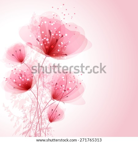 EPS 10. Contains transparent objects. Vector background with pastel flowers. - stock vector