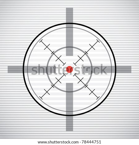 EPS10 crosshair with red dot - illustration - stock vector