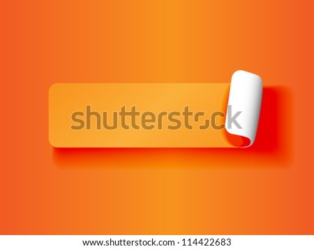 EPS 10: Cute peeling off label or sticker,orange on orange tones with white backing and shadows, ready for your text. - stock vector