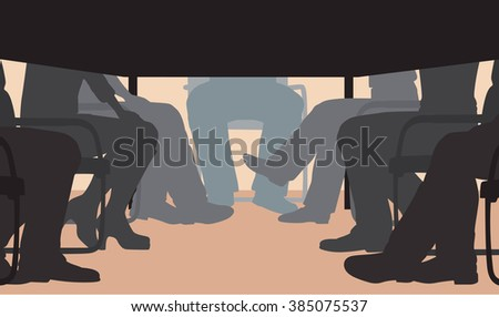EPS8 editable vector cutout illustration of an office meeting from under the table - stock vector
