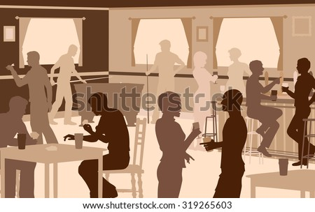 EPS8 editable vector cutout illustration of people drinking in a busy bar with typical pub games - stock vector