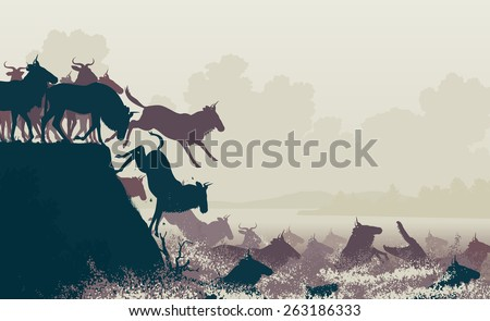 EPS8 editable vector cutout illustration of wildebeest on migration crossing a large river with a crocodile - stock vector