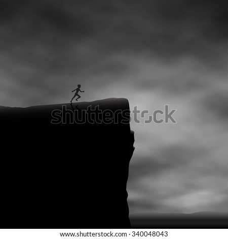 EPS8 editable vector illustration of a boy running towards a cliff edge made using a gradient mesh - stock vector