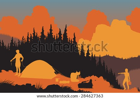 EPS8 editable vector illustration of a couple setting up camp in a wilderness area at dusk - stock vector