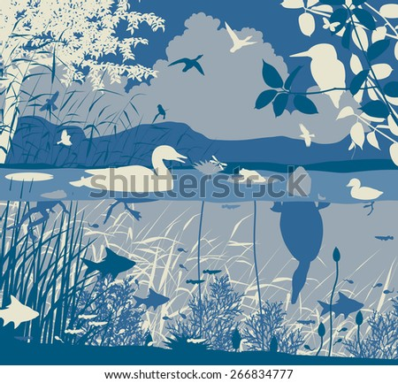 EPS8 editable vector illustration of diverse wildlife in a freshwater ecosystem with all figures as separate objects - stock vector
