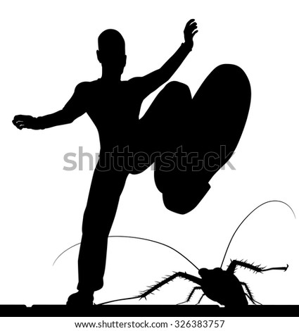 EPS8 editable vector silhouette of a man stamping on a cockroach with the figures as separate objects - stock vector