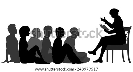 EPS8 editable vector silhouettes of a female teacher reading a story to a group of adults sitting on the floor - stock vector