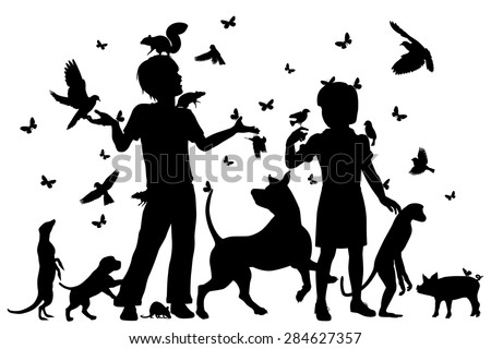 EPS8 editable vector silhouettes of a young boy and girl surrounded by animals with all figures as separate objects - stock vector