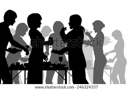 EPS8 editable vector silhouettes of people enjoying a buffet with all figures as separate objects - stock vector
