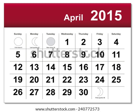 EPS10 file. April 2015 calendar. The EPS file includes the version in blue, green and black in different layers - stock vector