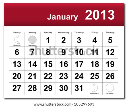 EPS10 file. January 2013 calendar. The EPS file includes the version in blue, green and black in different layers - stock vector