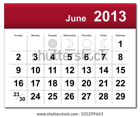 EPS10 file. June 2013 calendar. The EPS file includes the version in blue, green and black in different layers - stock vector