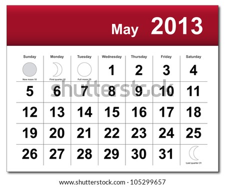 EPS10 file. May 2013 calendar. The EPS file includes the version in blue, green and black in different layers - stock vector
