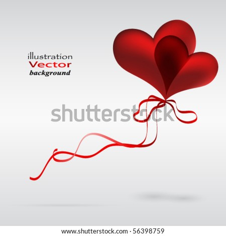 Eps10 Flying a couple of balloons in the shape of a heart. - stock vector