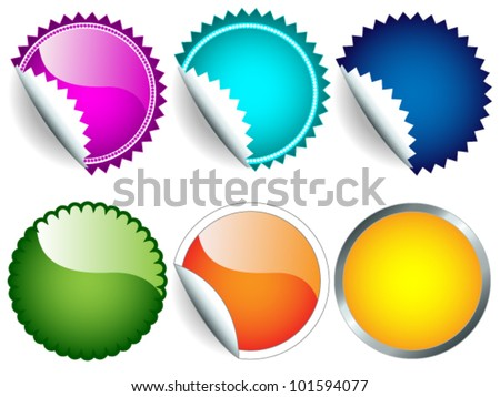 EPS 10: Fun collection of red stickers in different shapes, circle or rosette, with or without border, green, blue, orange, yellow, pink, turquoise, perfect for and retail. - stock vector