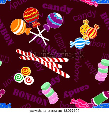 EPS 10: Fun seamless pattern made of all kinds of colorful candy including lollipops over dark background with candy and bonbon text. - stock vector