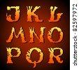 EPS 10, Hand-drawn alphabet (j, k, l, m, n, o, p, q, r) - stock vector