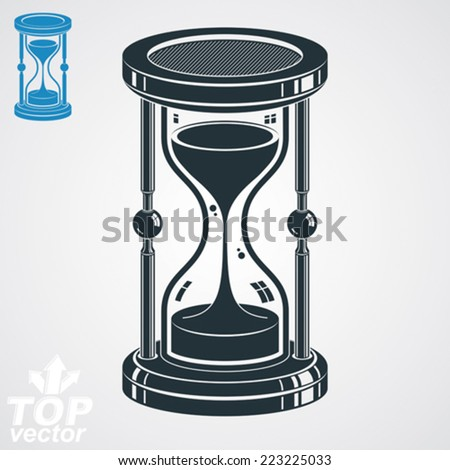 Eps8 highly detailed vector sand-glass illustration, additional version included. Antique classic hourglass. Retro clock silhouette. - stock vector