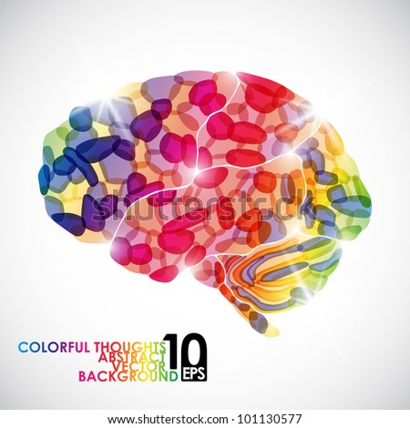 eps10, human brain, colorful thoughts, vector abstract background - stock vector