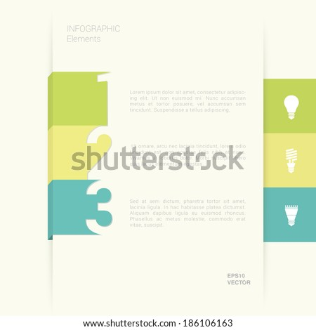 EPS10 minimal flat style ribbon illustration for workflow layout, diagram, number option banner, infographics - green, yellow, cyan version - stock vector