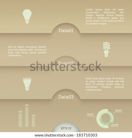 EPS10 minimal paper design template with light bulb icon set for numbered banner, infographic layout, web site background - eco version - stock vector