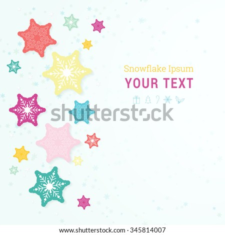 EPS10 scalable minimal christmas background with paper design snowflakes for web site banner, Christmas layout, brochure - colorful edition - stock vector