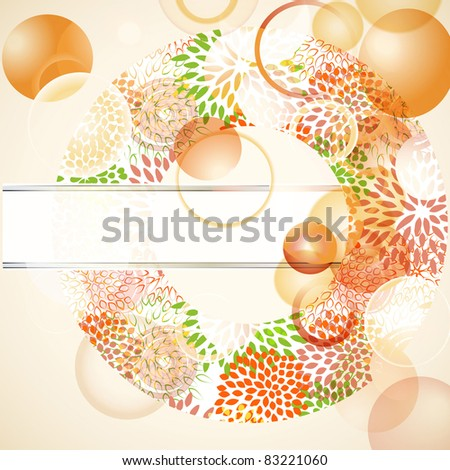 eps 10, vector abstact background with floral circle and place for your text - stock vector