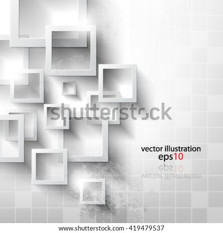 Eps 10 Vector Abstract geometric shape from gray rhombus with grunge effect - stock vector