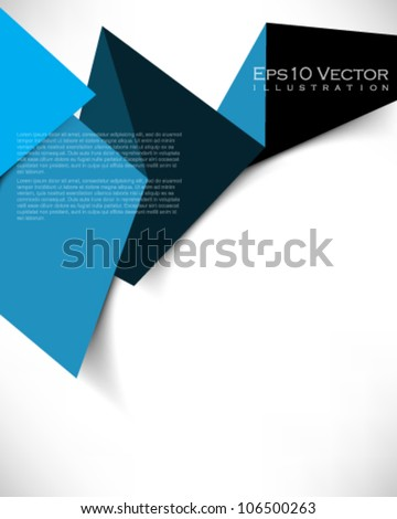 eps10 vector abstract paper origami banner illustration - stock vector