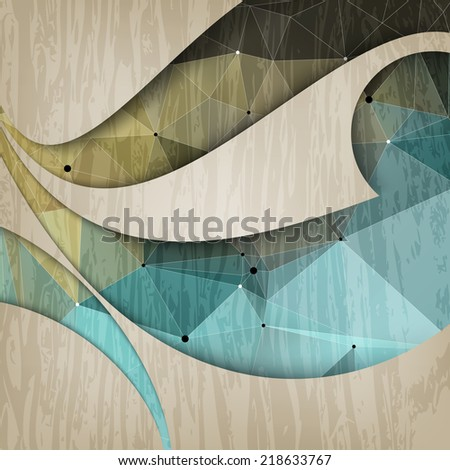 eps10 vector abstract triangular shapes and wave on wood effect concept background - stock vector