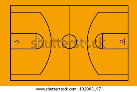 EPS8 vector. Basketball Court as  top-down plan - stock vector