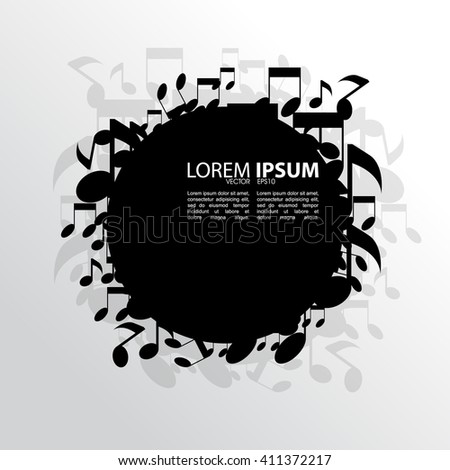 eps10 vector blank black round frame, scattered musical notes elements - stock vector
