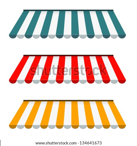 EPS Vector 10 - Colorful set of striped awnings - stock vector