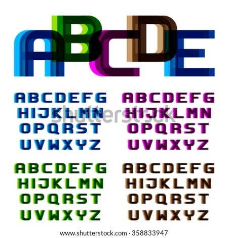 EPS10 vector distortion blur font alphabet letters - stock vector