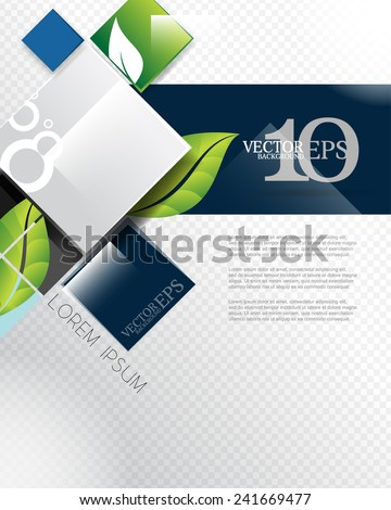 eps10 vector elegant leaf elements geometric squares corporate business background - stock vector