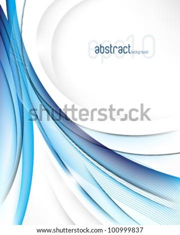 eps10 vector elegant transparent blue waves background - stock vector